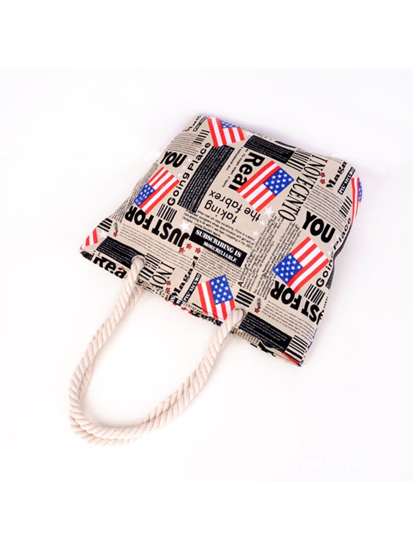 American Flag Print Canvas Tote Bag