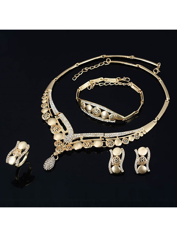 Alloy Slice Floral Diamante Hollow Out Pear Pendant Curve Design Jewelry Sets