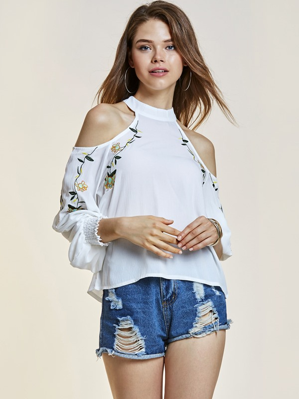 Cold Shoulder Embroidery Women's Blouse