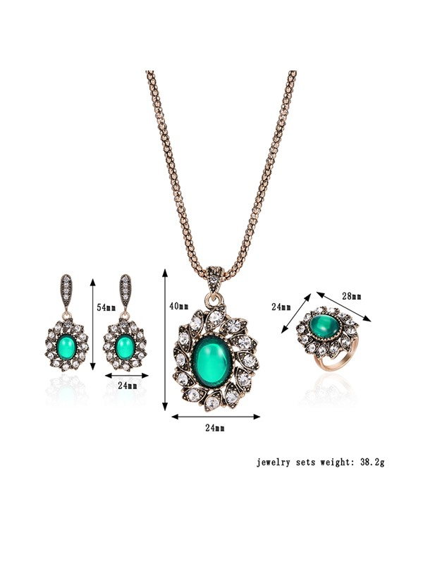Green Lucid Stone Leaves Diamond Alloy Pendant Necklace Rings Earrings Jewelry Sets