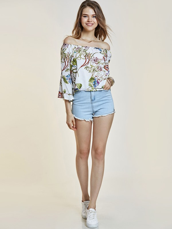 Off Shoulder Floral Print Backless Women's Blouse