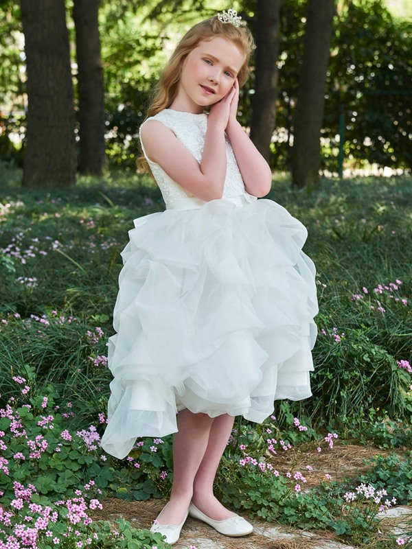 Lovely Straps Pick-Ups Lace Top Flower Girl Dress