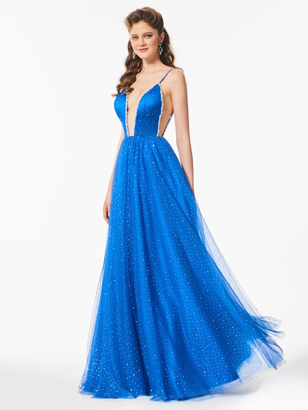 Spaghetti Straps Beaded A-Line Prom Dress