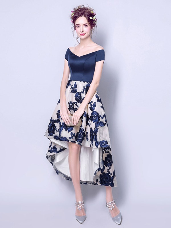Fancy V-Neck A-Line Lace Short Sleeves Asymmetry Homecoming Dress
