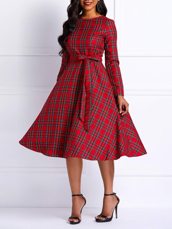 Plaid Long Sleeve Bowknot Women's Skater Dress