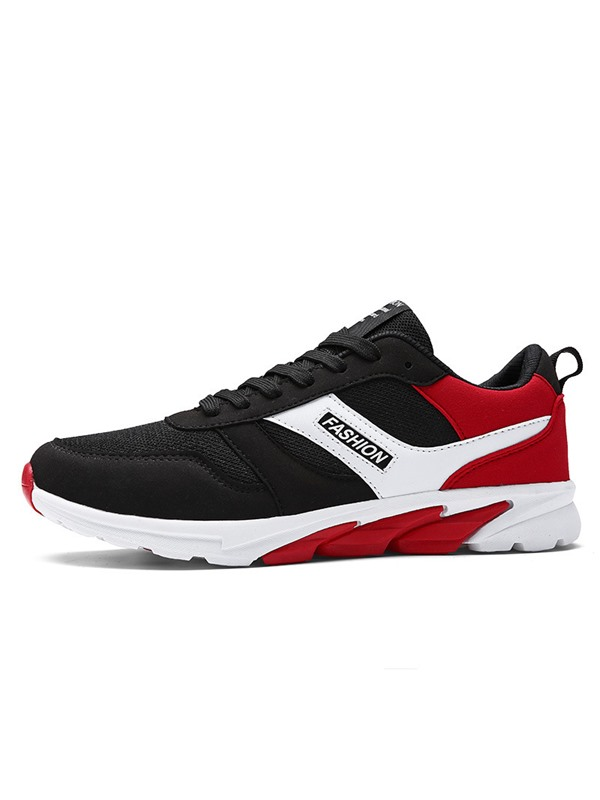 Mesh Lace-Up Round Toe Men's Running Shoes