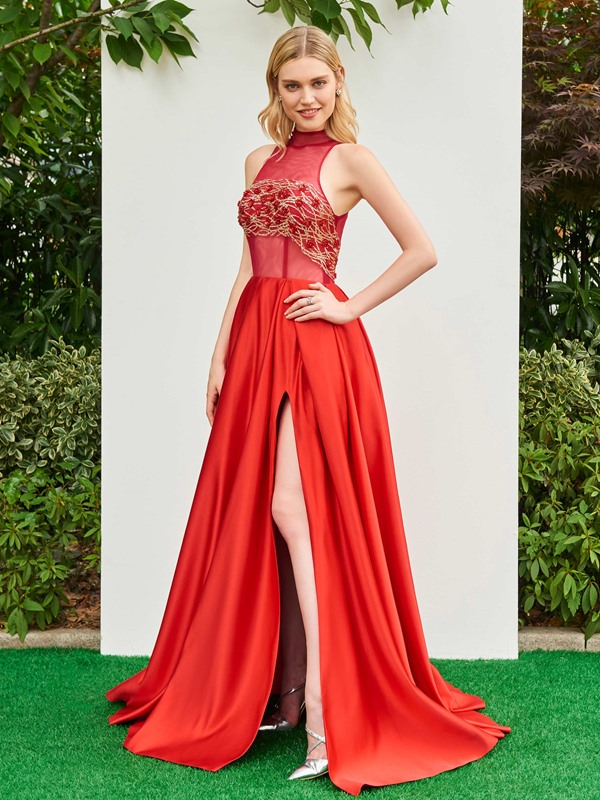 High Neck A-Line Beaded Lace Split-Front Evening Dress
