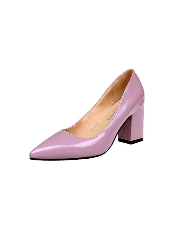 Patent Leather Pointed Toe Chunky Heel Chic Pumps