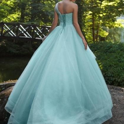 Gorgeous One-Shoulder Ball Gown Beaded Pleats Brush Train Prom Dress