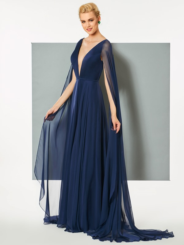 Superb A-Line Deep V-Neck Backless Sweep Train Evening Dress
