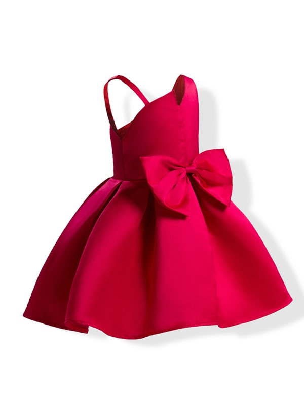Sweet Bowknot Solid Color Bud Girl's Dress