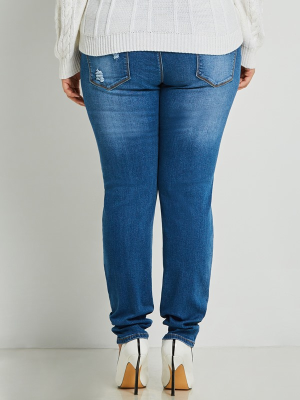 Plus Size Skinny Worn Hole Women's Jeans