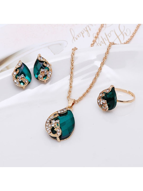 Peacock Shaped Oval Cut Rhinestone Water-Wave Chain Jewelry Sets