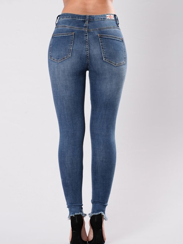 High Flexibility Skinny Hole Embroidery Women's Jeans