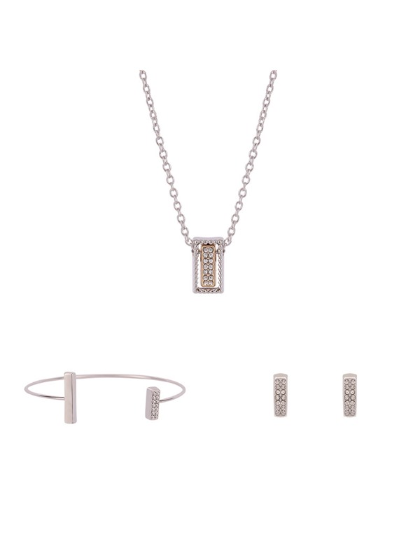Rectangle Hollow Out Jack Chain Three-Piece Jewelry Sets