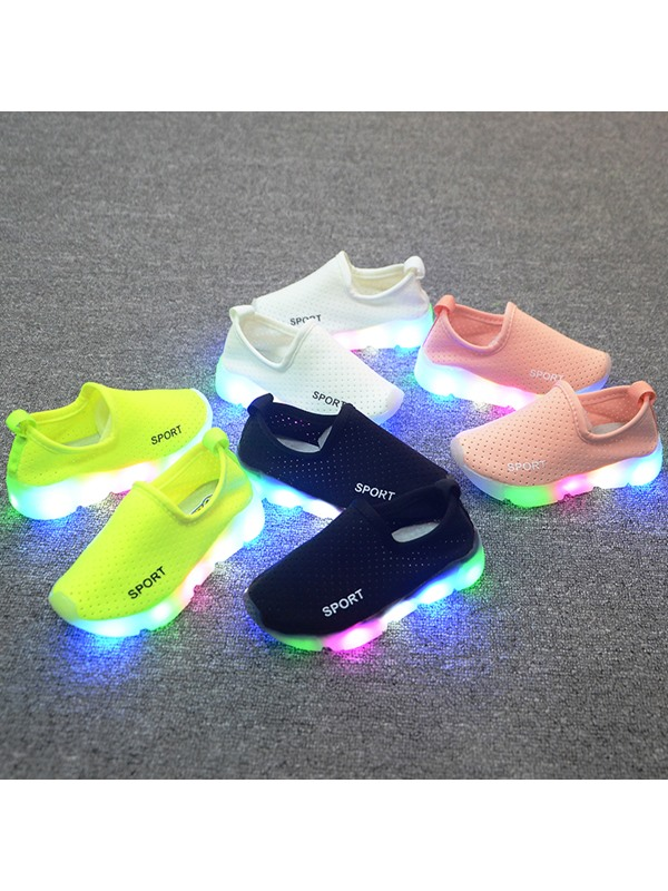Pure Color LED Designed Kid's Sneakers