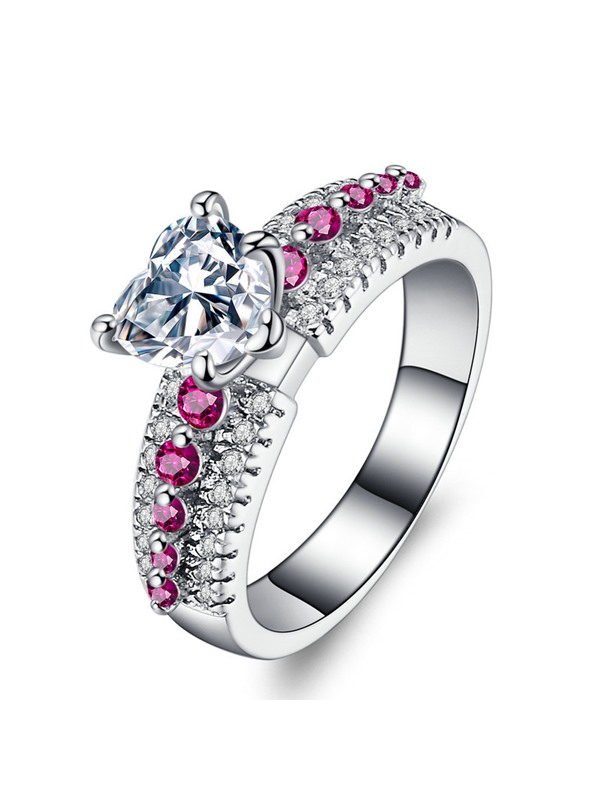 Heart Pattern Zircon Cluster Red Stone Alloy Prom Rings