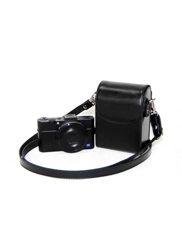 Leather Camera Case Bag with Magnetic Closure and Strap for Sony RX100III RX100M3