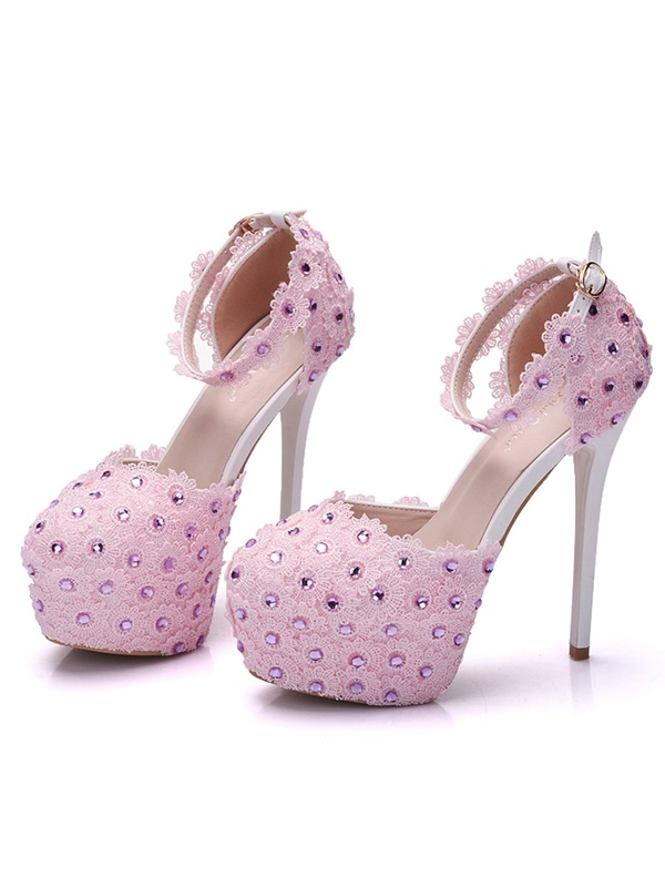 PU Appliques Rhinestone Line-Style Buckle Pink Wedding Shoes