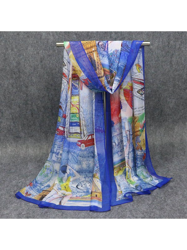 Colorful Places Of Interest Architectures Print Chiffon All-Matched Bohemian Beach Shawl Scarfs