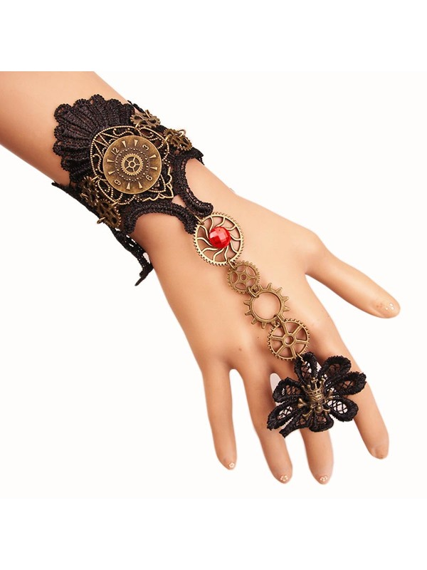 Skull Shaped Gear Rack Alloy Lace Halloween Rings Bracelets & Bangles