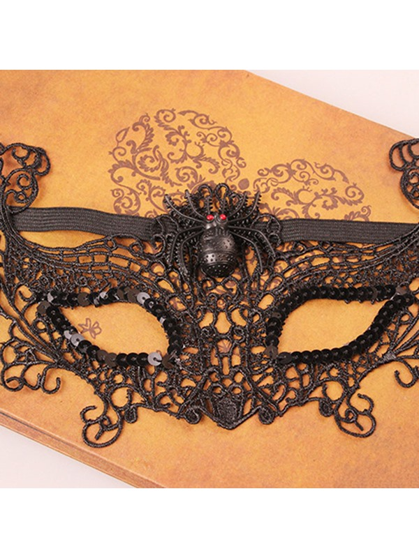 Spider Shaped Lace Performance Prop Gothic Halloween Eyepatch Masks