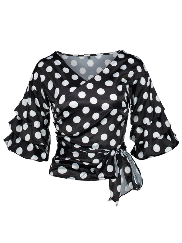 Falbala Bow Tie Front Pleated Polka Dots Blouse