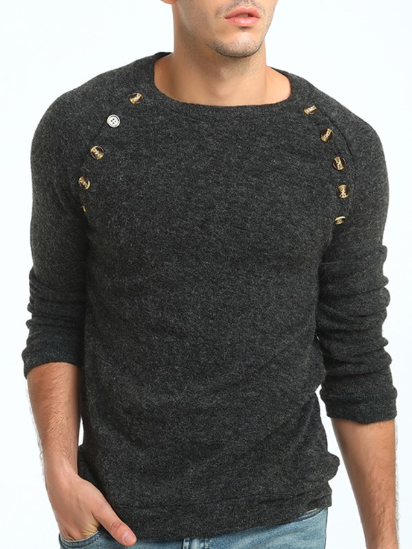 Solid Color Mosaic Button Round Neck Slim Warm Men's Sweater