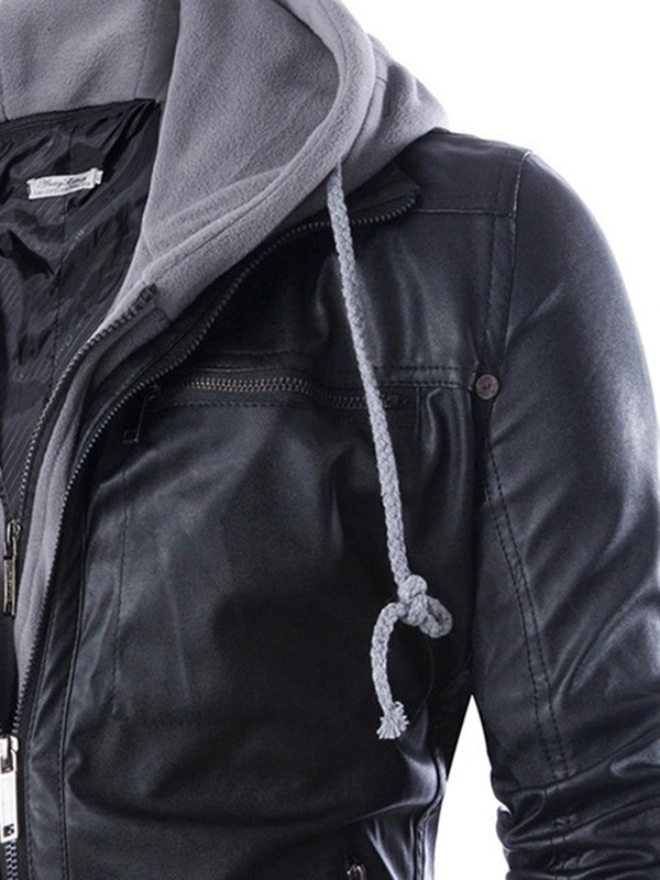 Tidebuy Double-Layer Hooded Zipper Men's Leather Jacket