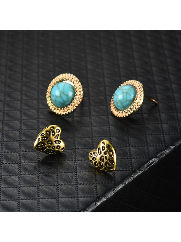 V Type Round Imitation Turquoise Earrings Jewelry Sets