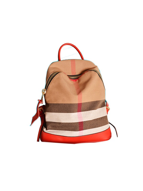 Preppy Chic Plaid Pattern Canvas Backpack
