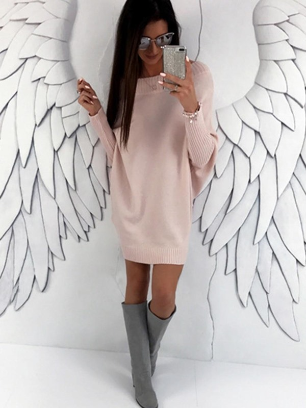 Boat Neck Long Bat Sleeves Women's Sweater Dress