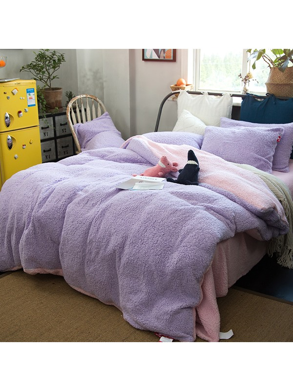 Wannaus Solid Violet and Pink Reversible Polyester Faux Sherpa 4-Piece Bedding Sets/Duvet Cover