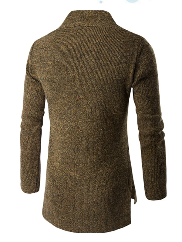 Cardigan Plain Stand Collar Mid-Length Men's Sweater