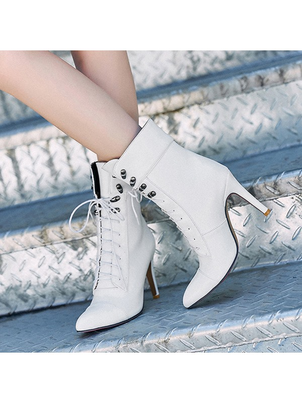 PU Lace-Up Front Pointed Toe Stiletto Women's Boots