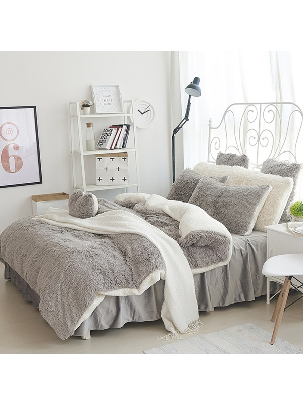 Wannaus Fluffy Solid Gray and White Color Blocking 4-Bedding Sets/Duvet Cover