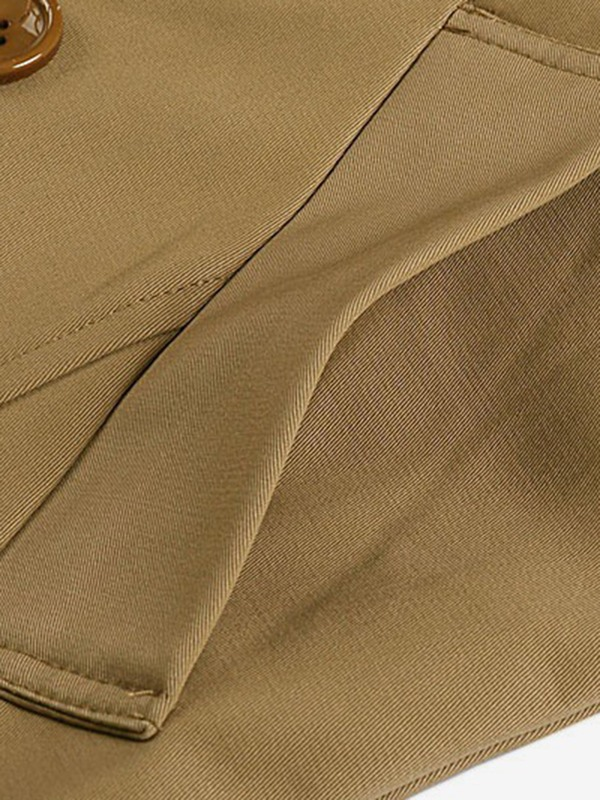 Tidebuy Notched Lapel Double-Breasted Plain Men's Trench Coat