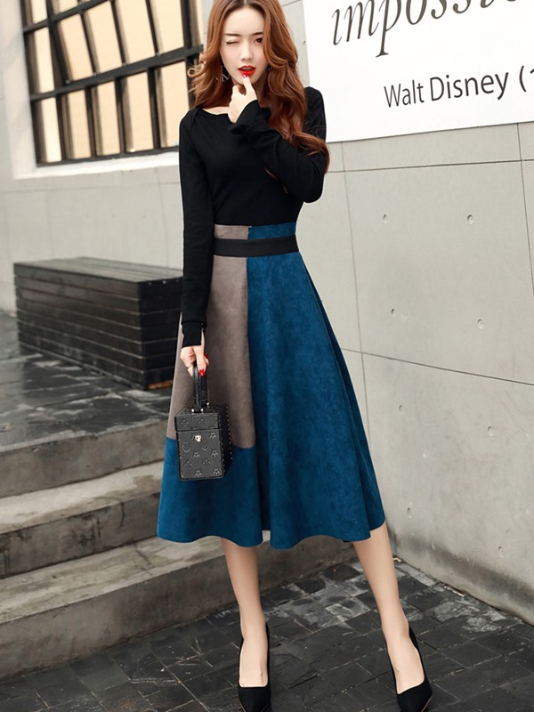 Color Block A-Line Long Skirt and Slash Neck Pullover Women's Skirt Suit