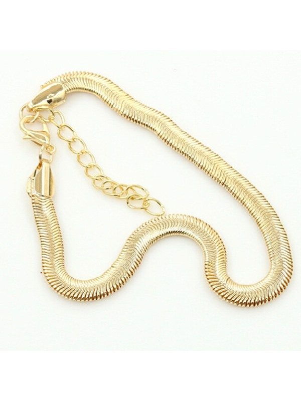 European Gold-Tone Metal Thin Anklets