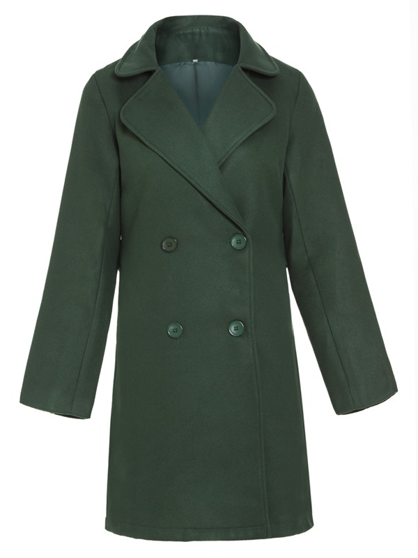 Wool Blends Slim Mid Length Double-breasted Women's Overcoat