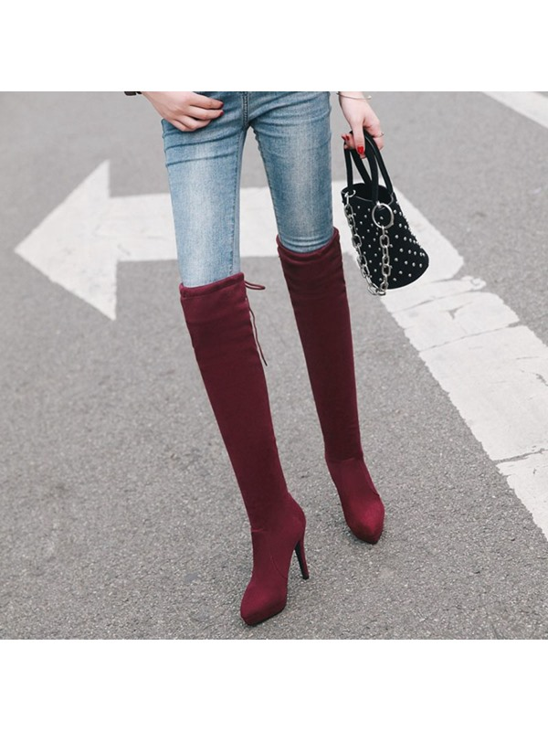 Faux Suede Lace-Up Back Pointed Toe Women's Boots