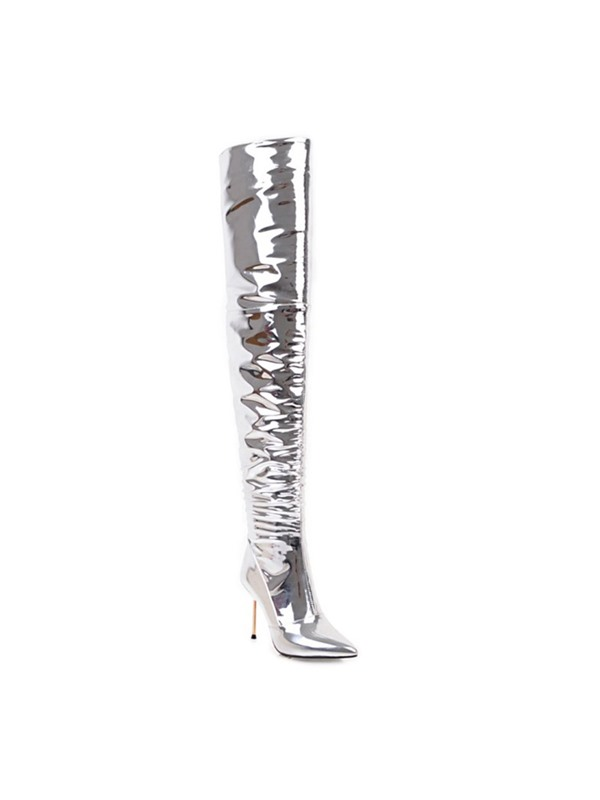 PU Pointed Toe Side Zipper Pleated Women's Silver Boots