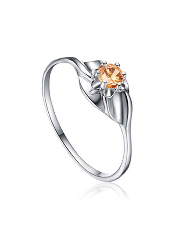 Round Concise Zircon Design Sterling Silver Ring