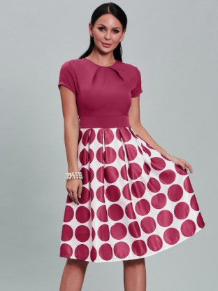 Polka Dots Short Sleeve Women's Short Day Dress