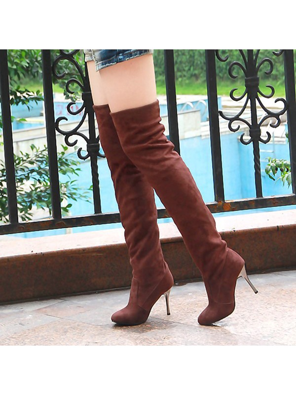 Faux Suede Slip-On Stiletto Women's Thigh High Boots