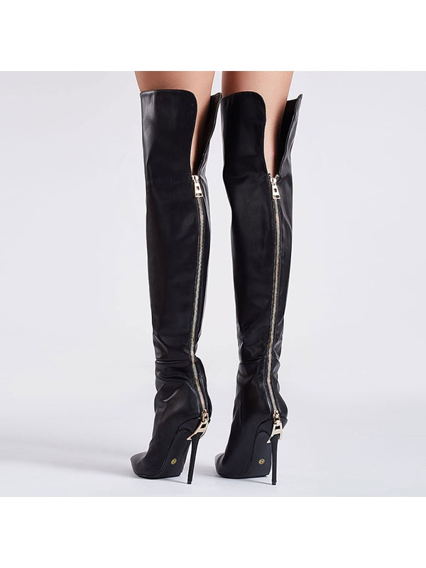 PU Back Zip Pointed Toe Women's Black Boots