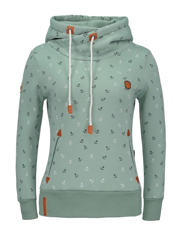 Lace-up Print Pockets Slim Women's Hoodie