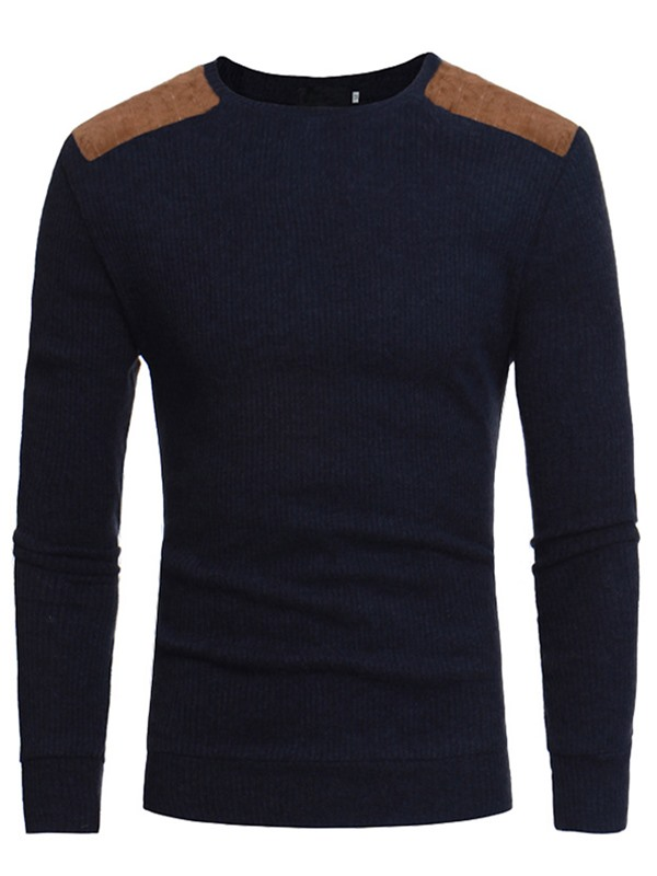 Round Neck Patchwork Color Block Men's Sweater