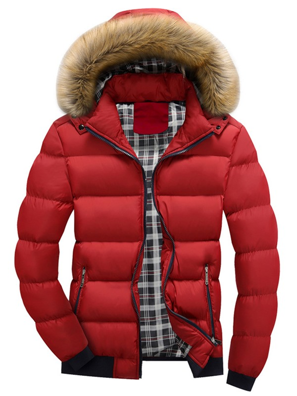 Tidebuy Hooded Solid Color Thick Men's Winter Jacket