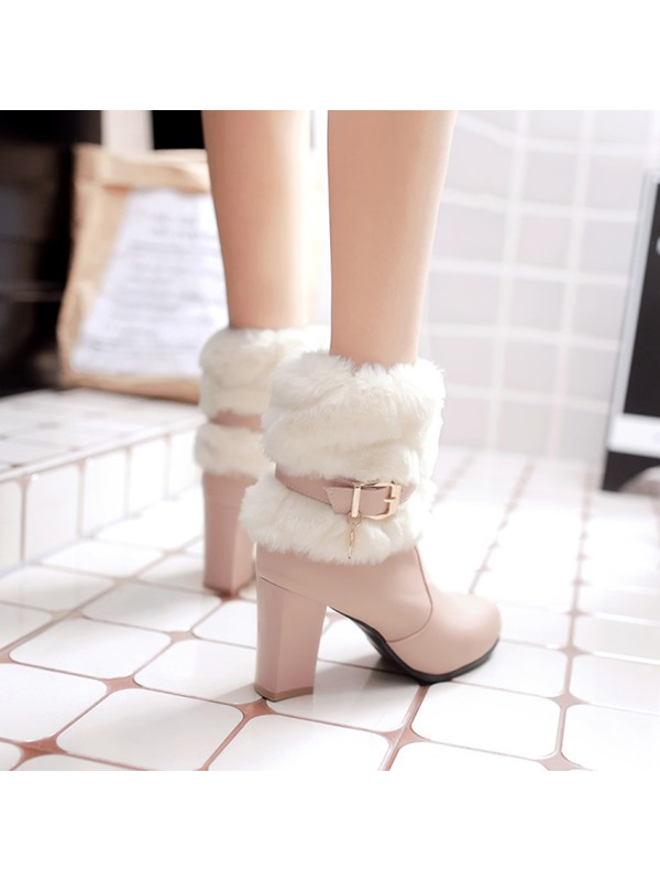 PU Buckle Sequin Patchwork Winter Boots for Women
